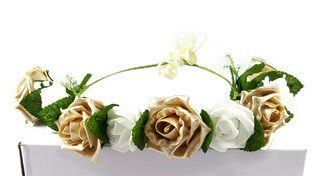 gold and white flower hair crown