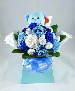 blue teddy bouquet