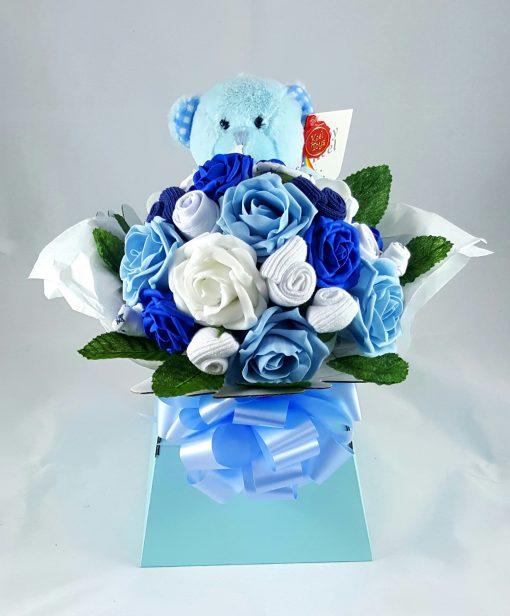 blue teddy bouquet