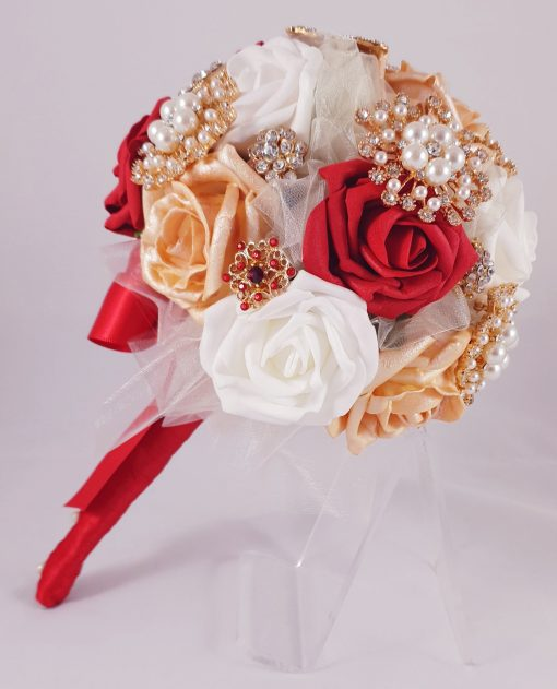 red bridal brooch bouquet